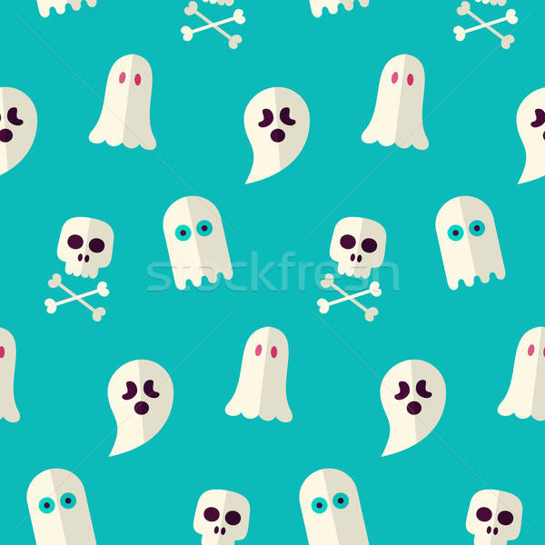 Vector Flat Seamless Scary Ghost and Spirit Halloween Pattern Stock photo © Anna_leni