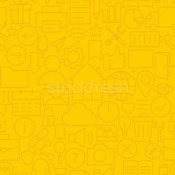 Thin Line Website Mobile User Interface Seamless Yellow Pattern Stock photo © Anna_leni
