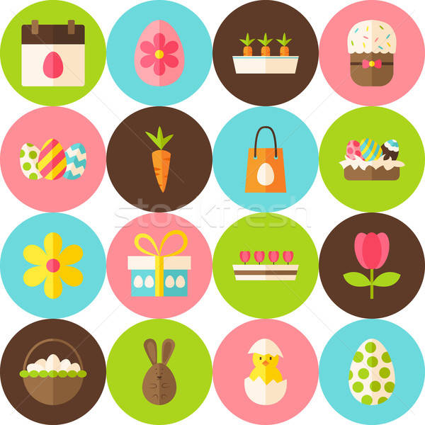 Vektor fehér kellemes húsvétot végtelen minta körök terv Stock fotó © Anna_leni