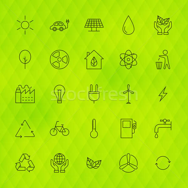 Ecology Environment Line Icons Set over Polygonal Background Stock photo © Anna_leni