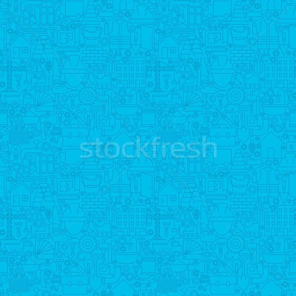 Thin Line Blue Construction Seamless Pattern Stock photo © Anna_leni