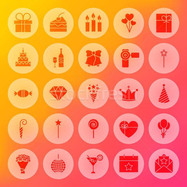 Joyeux anniversaire solide cercle icônes fête célébration Photo stock © Anna_leni