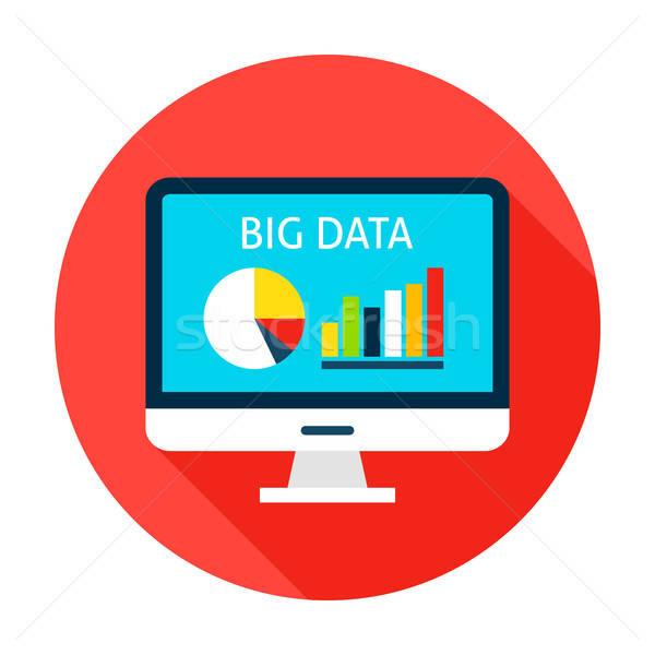 Nagy adat számítógép kör ikon tétel Stock fotó © Anna_leni