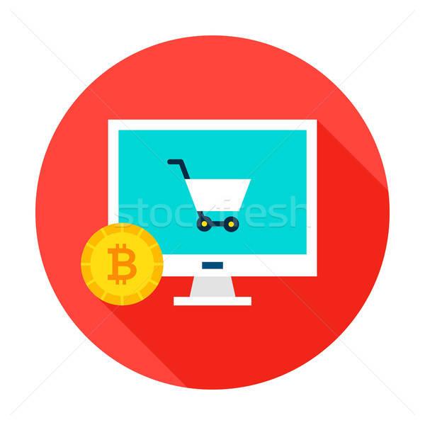 Bitcoin ecommerce cerchio icona stile lungo Foto d'archivio © Anna_leni