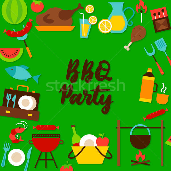 BBQ Party Lettering Postcard Stock photo © Anna_leni