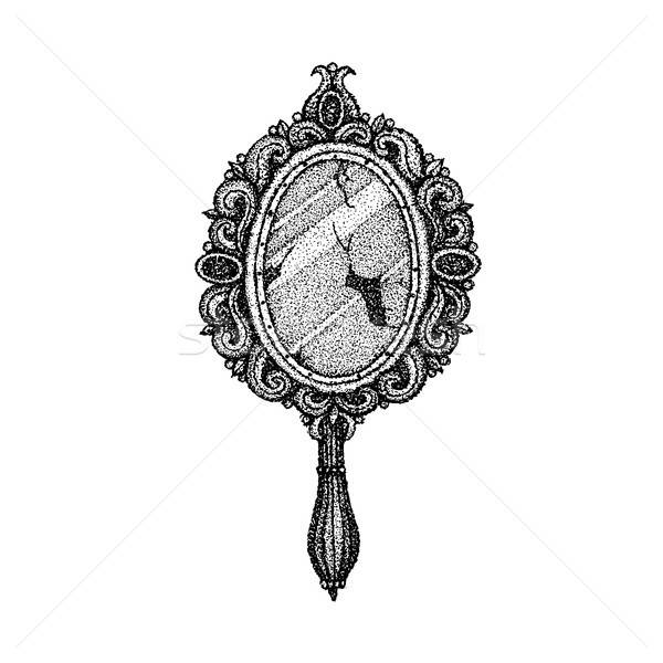 Dotwork Ancient Handle Mirror Stock photo © Anna_leni