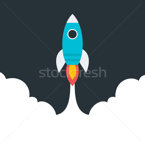 Flat stylized flying rocket Stock photo © Anna_leni