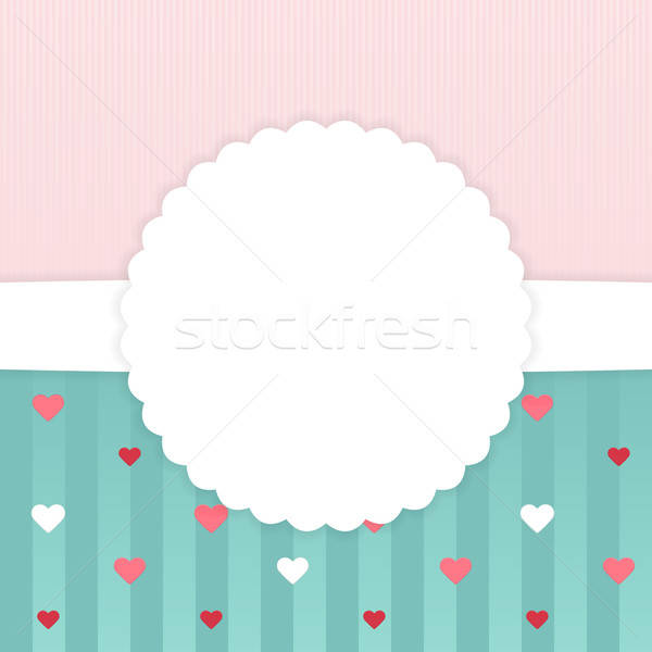 Pink and blue stripped card template with hearts Stock photo © Anna_leni