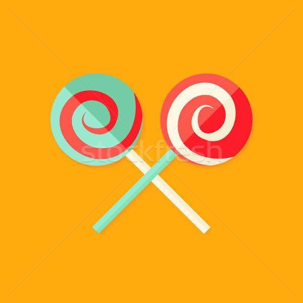 Lollipop Sweets Christmas Flat Icon Stock photo © Anna_leni