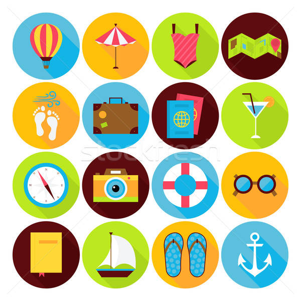 Flat Summer Holiday Icons Set Stock photo © Anna_leni