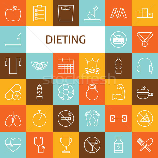 Vector Flat Line Art Modern Sport and Dieting Icons Set Stock photo © Anna_leni