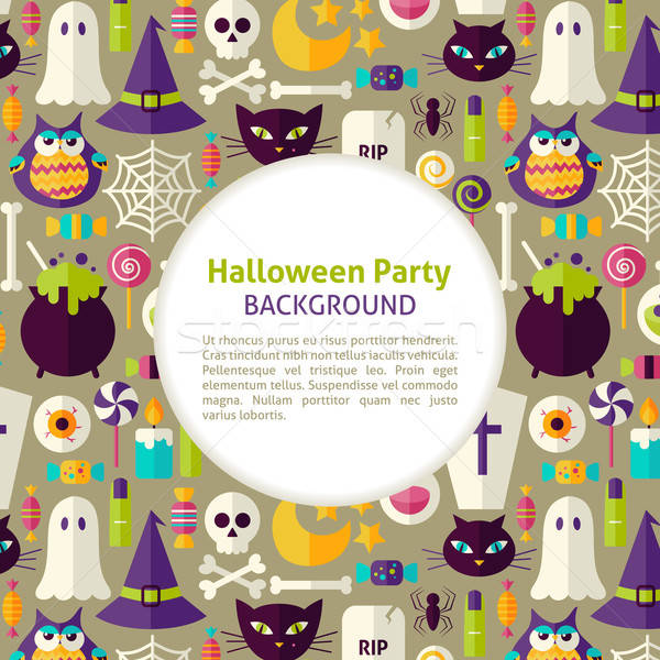 Flat Vector Pattern Halloween Party Background Stock photo © Anna_leni