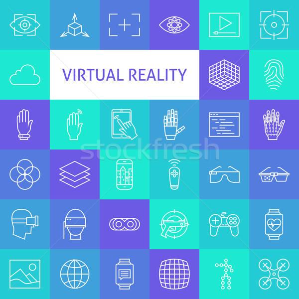 Vector Line Art Virtual Reality Icons Set Stock photo © Anna_leni