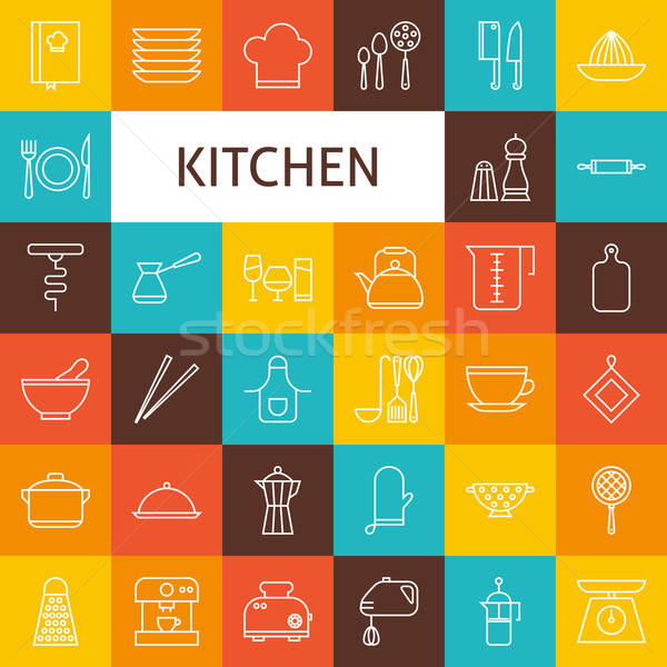 Vector Line Art Kitchenware and Cooking Utensils Icons Set Stock photo © Anna_leni