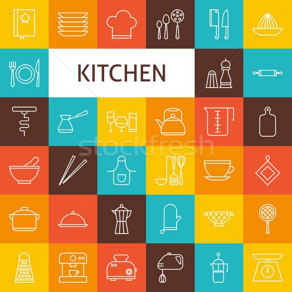 Vektör hat sanat mutfak gereçleri pişirme Stok fotoğraf © Anna_leni