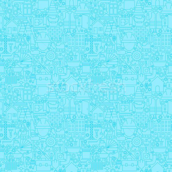 Thin Line Light Blue Construction Seamless Pattern Stock photo © Anna_leni