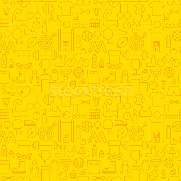 Line Healthy Lifestyle Fitness Dieting Yellow Seamless Pattern Stock photo © Anna_leni