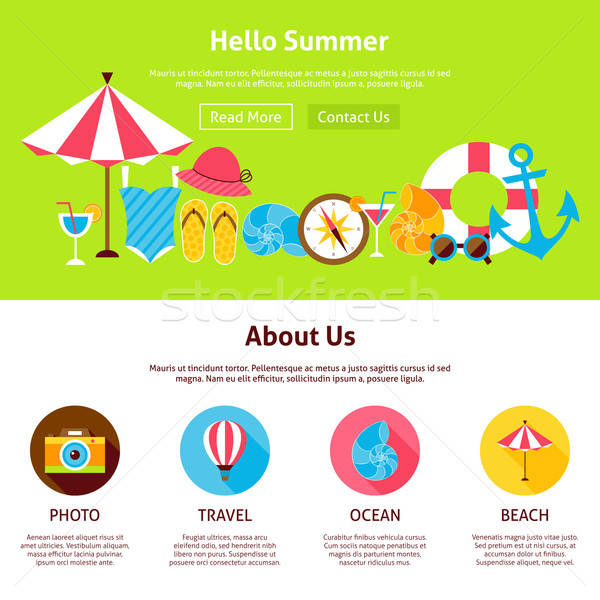 Hello Summer Flat Web Design Template Stock photo © Anna_leni