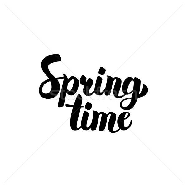 Frühling Zeit handschriftlich Schriftkunst Tinte Pinsel Stock foto © Anna_leni
