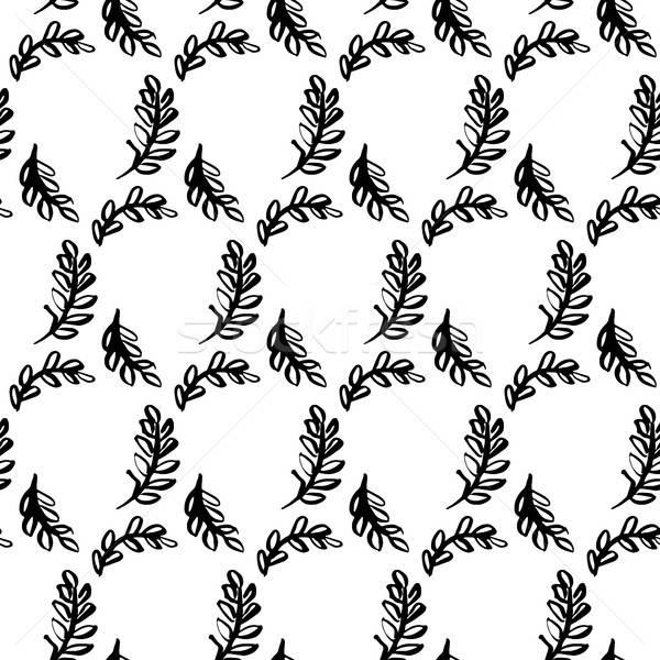 Spring Leaf Brush Seamless Pattern Stock photo © Anna_leni