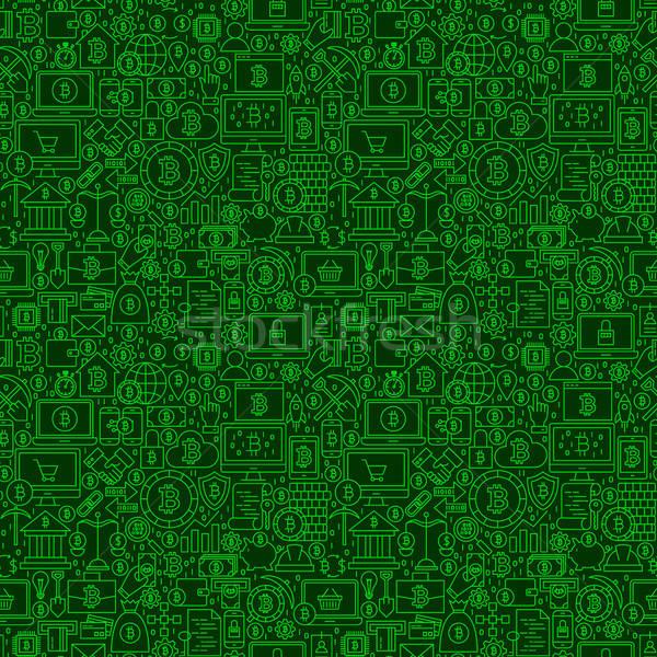 зеленый линия bitcoin плитка Сток-фото © Anna_leni