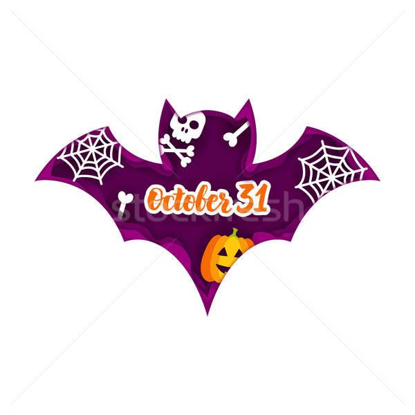 Halloween bat papieru cięcia sztuczka Zdjęcia stock © Anna_leni