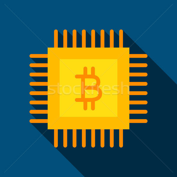 Stockfoto: Bitcoin · chip · icon · lang · schaduw · business