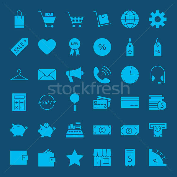 Online Shopping Solid Web Icons Stock photo © Anna_leni