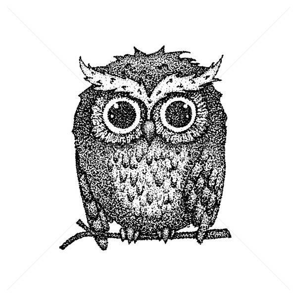 Dotwork Cute Owl Stock photo © Anna_leni