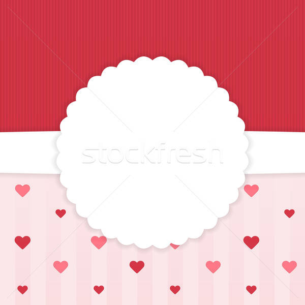 Red and pink stripped card template with hearts Stock photo © Anna_leni