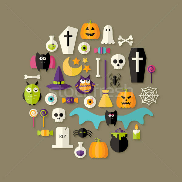 Stock photo: Halloween Flat Icons Set Over Dark Brown