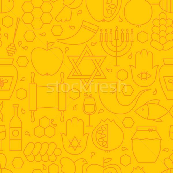 тонкий линия праздник бесшовный желтый шаблон Сток-фото © Anna_leni