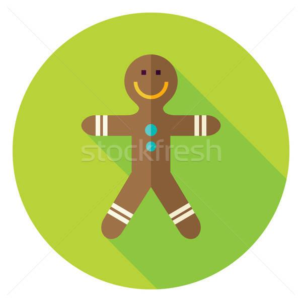 Vector Flat Design Gingerbread Man Circle Icon Stock photo © Anna_leni