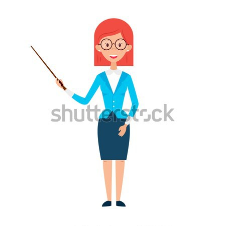 Woman Teacher with Glasses and Chalk Stock photo © Anna_leni