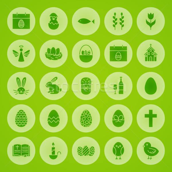 Foto stock: Feliz · pascua · sólido · círculo · iconos · primavera · vacaciones