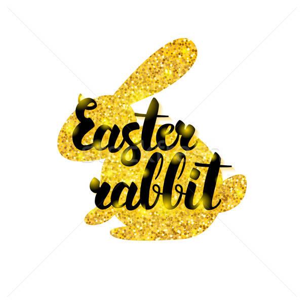 Gold Easter Rabbit Greeting Stock photo © Anna_leni