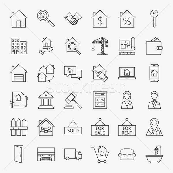 Real Estate Line Icons Set Stock photo © Anna_leni
