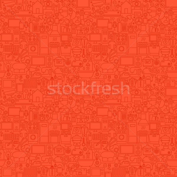 Red Household Seamless Pattern Stock photo © Anna_leni