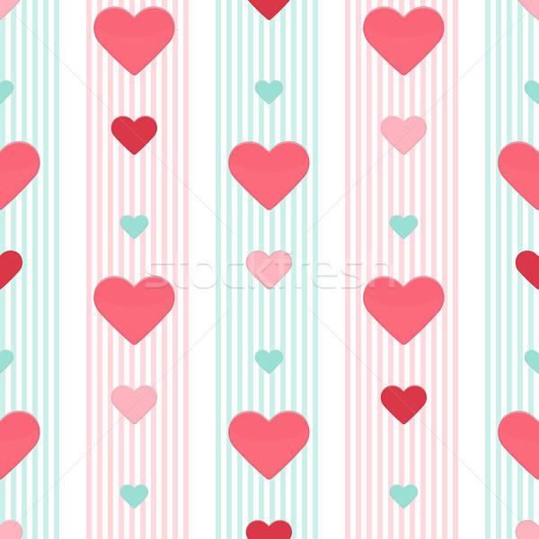 бесшовный сердце розовый синий шаблон рождения Сток-фото © Anna_leni