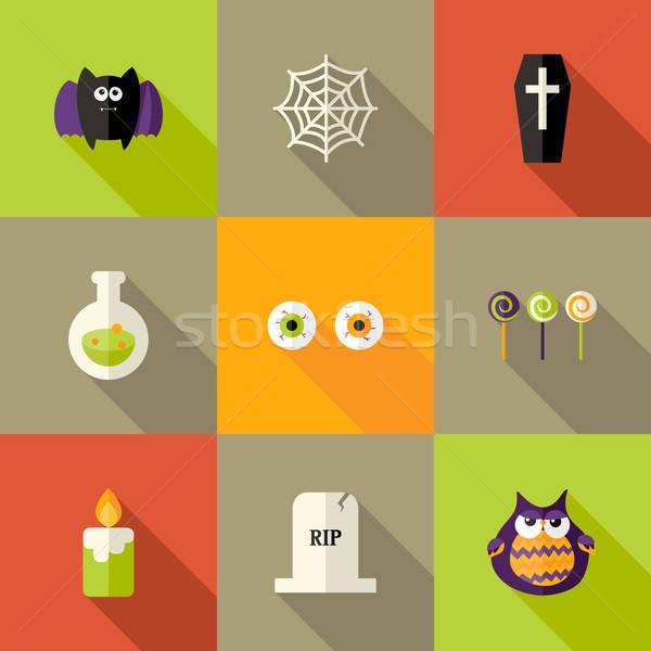 Stock photo: Halloween Squared Flat Icons Set 1