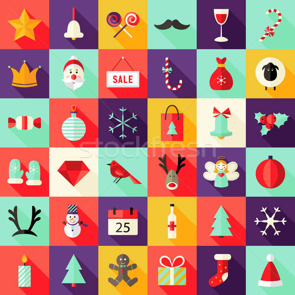 Big Christmas Squared Flat Icons Set 1 Stock photo © Anna_leni
