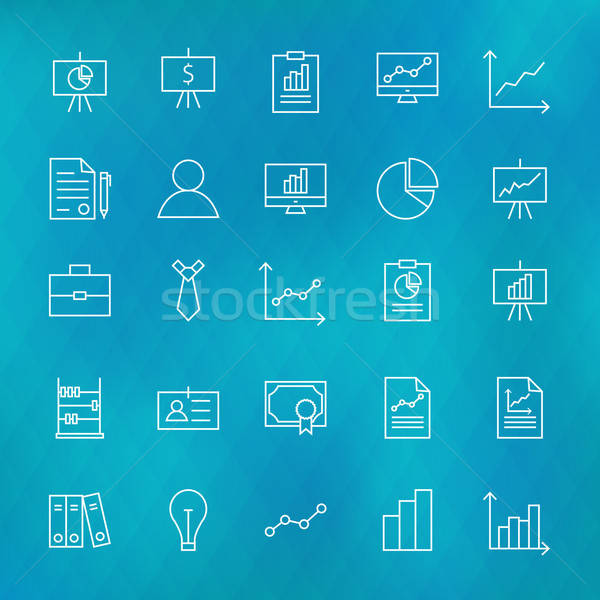 Business Chart Graph and Finance Line Icons Set over Polygonal B Stock photo © Anna_leni