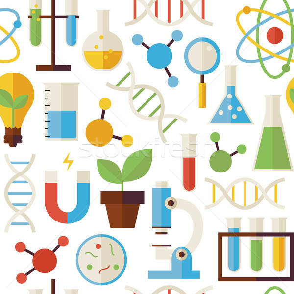 Flat Seamless Pattern Science and Research Objects over White Stock photo © Anna_leni