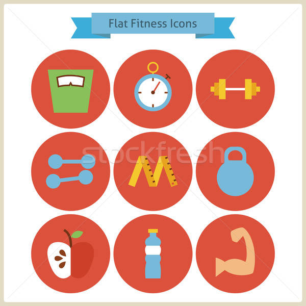 Stock photo: Flat Sport and Fitness Icons Set