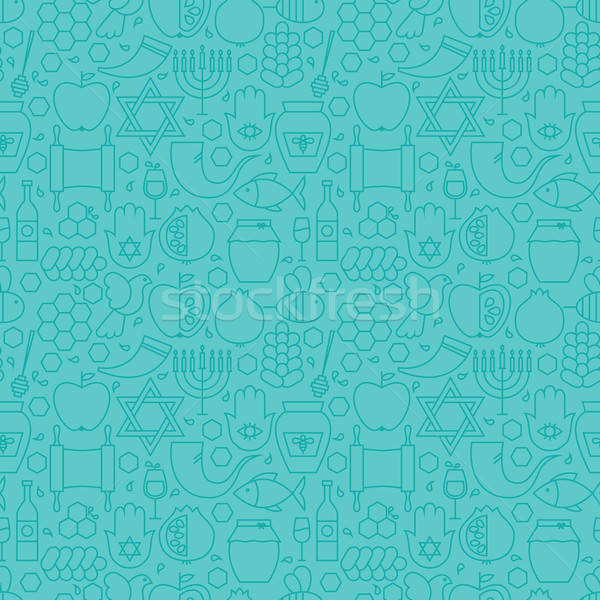 Thin Line Jewish New Year Holiday Seamless Blue Pattern Stock photo © Anna_leni