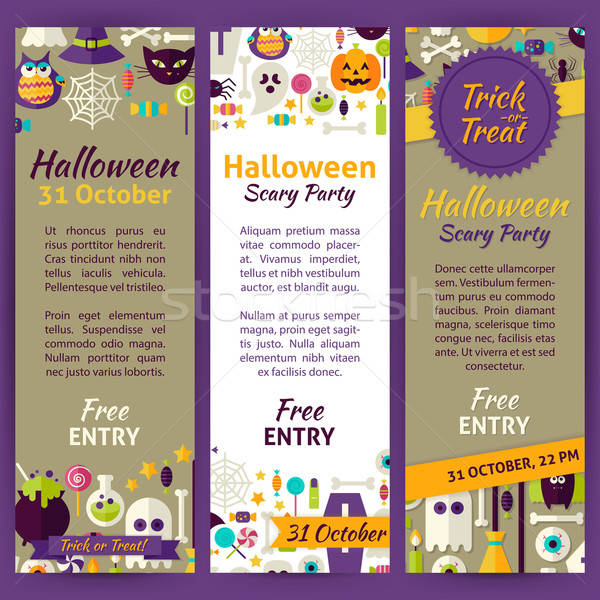 Trick or Treat Halloween Party Invitation Vector Template Flyer  Stock photo © Anna_leni