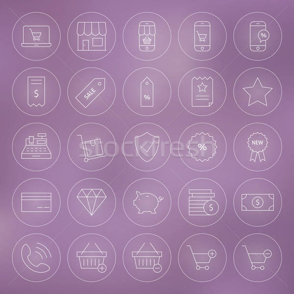 Line Circle Shop Market E-commerce Icons Set Stock photo © Anna_leni