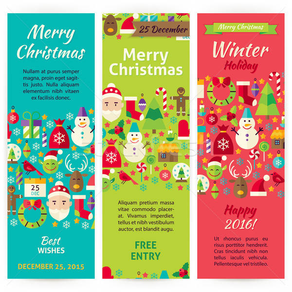 Winter Christmas Holiday Vector Invitation Template Flyer Set Stock photo © Anna_leni