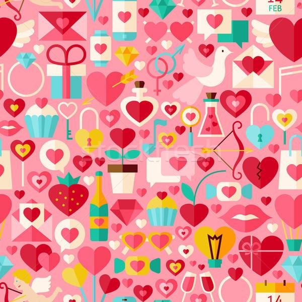 Stock fotó: Valentin · nap · nap · vektor · terv · rózsaszín · végtelen · minta