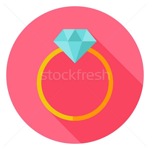 Anello nuziale diamante cerchio icona design lungo Foto d'archivio © Anna_leni